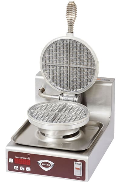 Wells WB1E Single Round Waffle Baker - Operator Controls, Aluminum Grids, Stainless, 120v