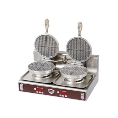 Wells WB-2E Double Round Waffle Baker - Operator Controls, Aluminum Grids, Stainless, 120v