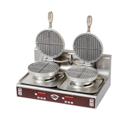 Wells WB2E Dual Round Waffle Baker - Programmable Temperature Controls, Stainless, 208v