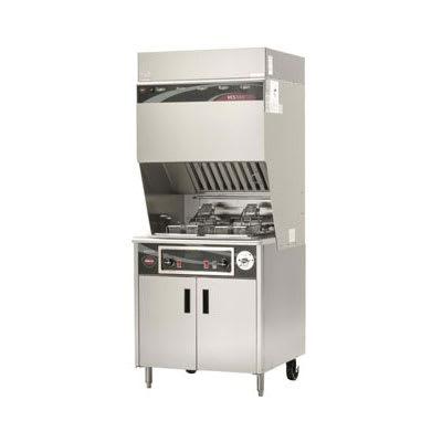 Wells WVF-886 Electric Fryer w/ Ventless Hood - (2) 15-lb Vat, Floor Model, 208v/3ph