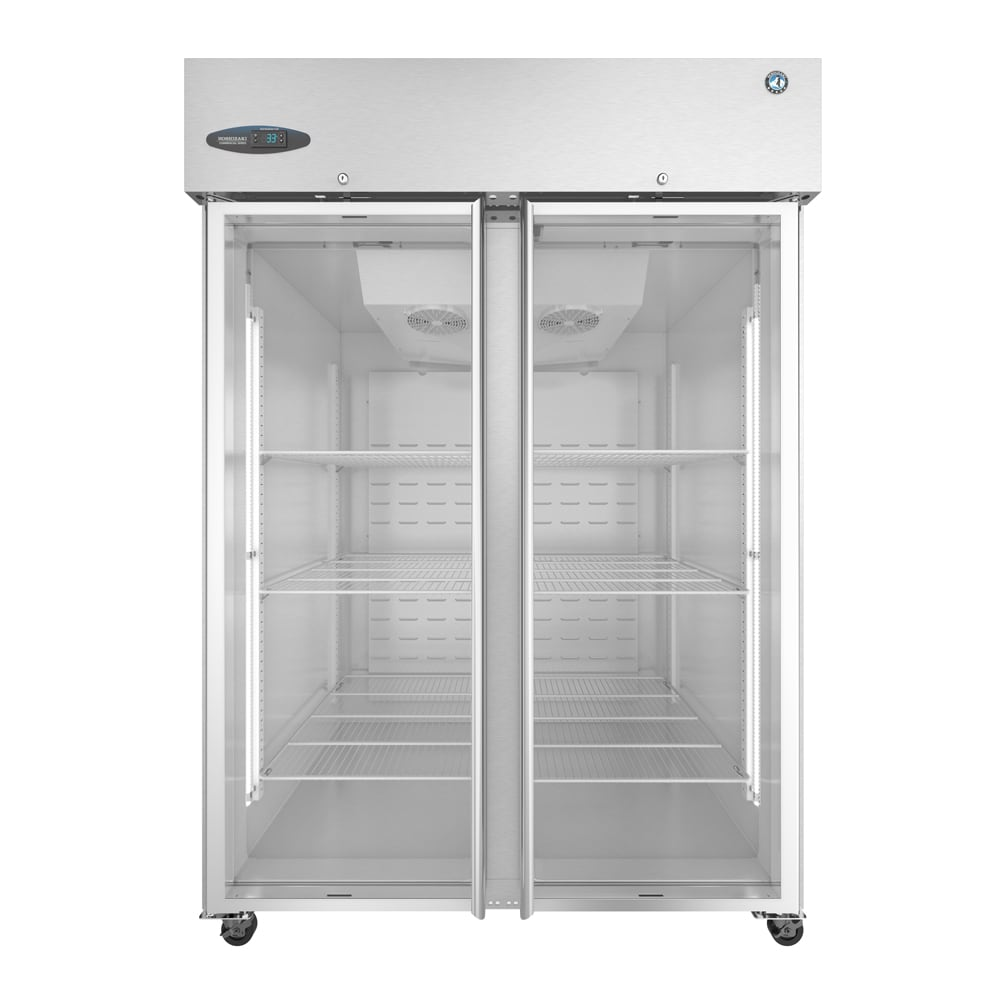 "Hoshizaki CR2S-FGE 55"" Two Section Reach-In Refrigerator, (2) Glass Doors, 115v"