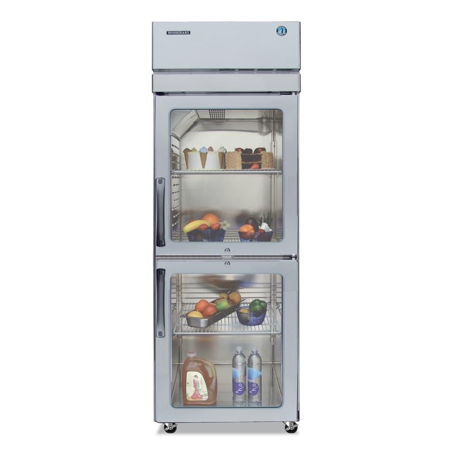 """Hoshizaki PTR1SSE-HGHS 28"""" Single Section Pass-Thru Refrigerator, (2) Glass Door, 115v"""