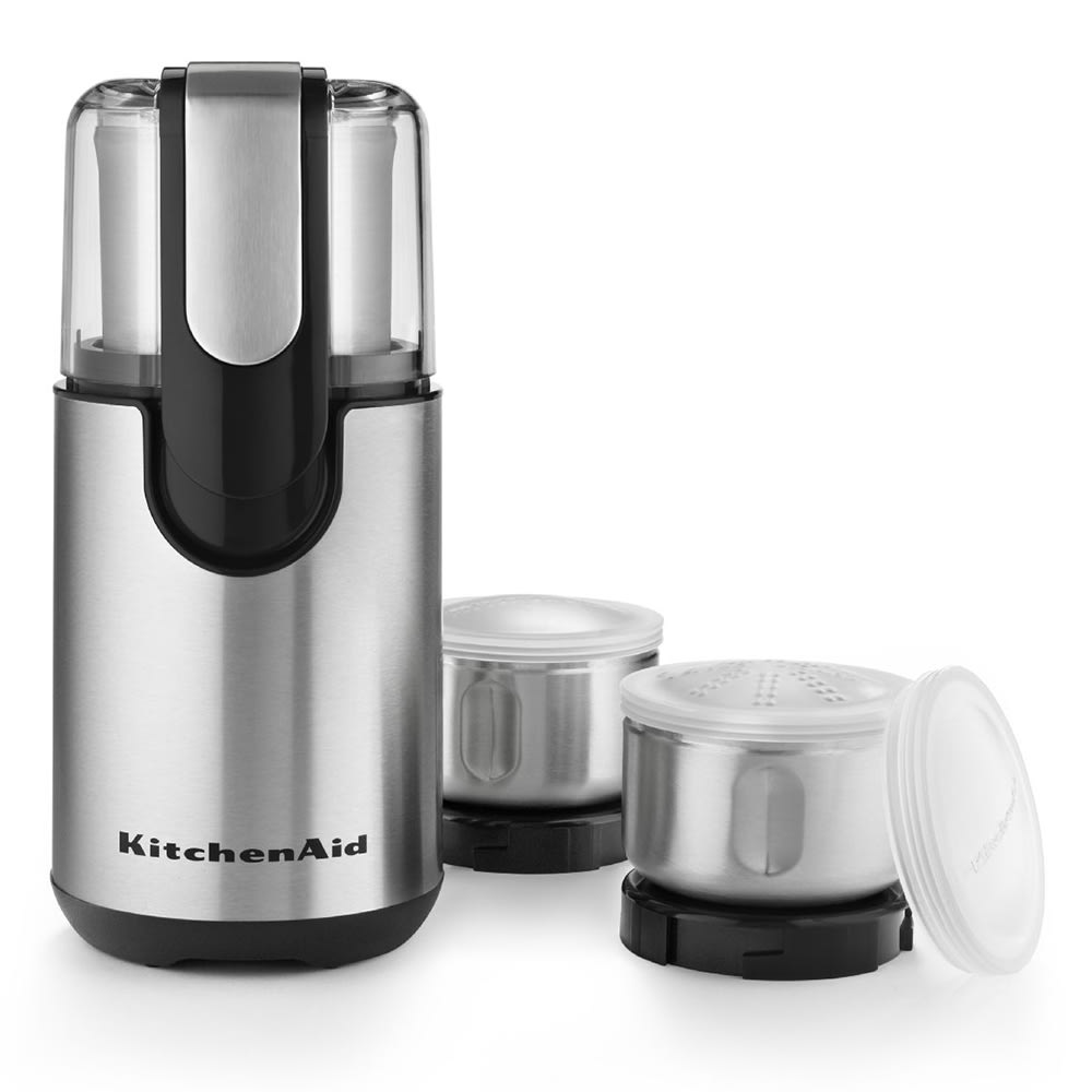KitchenAid BCG211OB Blade Coffee/Spice Grinder w/ 4-oz Stainless Bowl, Push Button, Black