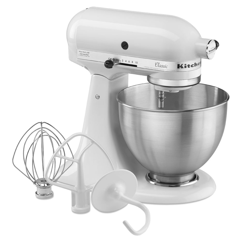 KitchenAid K45SSWH 10 Speed Stand Mixer w/ 4.5 qt Stainless Bowl &  Accessories, White, 120v