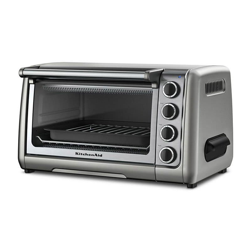 KitchenAid KCO111CU 10-in Countertop Oven w/ Bake, Broil & Roast, Contour Silver