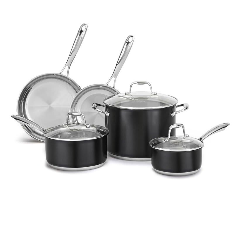 KitchenAid KCSS08OB 8-Piece Stainless Cookware Set w/ Glass Lids - Onyx Black