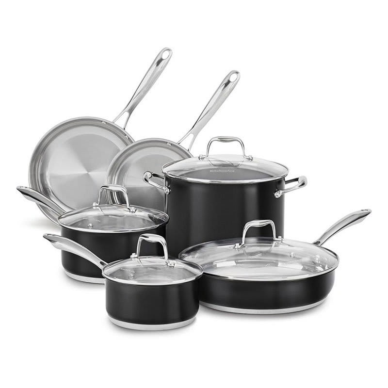 Kitchenaid Kcss10ob 10 Piece Stainless Cookware Set W