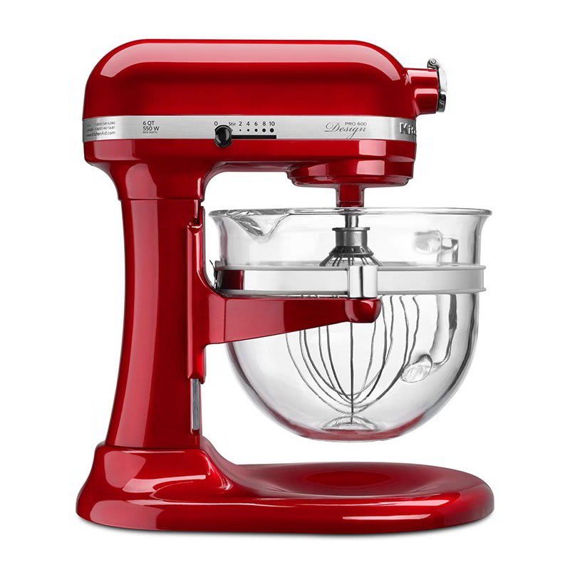 KitchenAid KF26M22CA 10 Speed Stand Mixer w/ 6 qt Glass Bowl & Accessories, Candy Apple Red, 120v