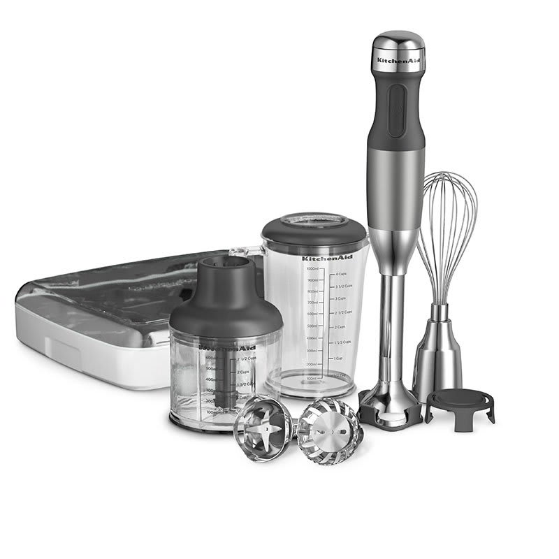 KitchenAid KHB2561CU 5-Speed Hand Blender w/ 5-Attachments, Contour Silver