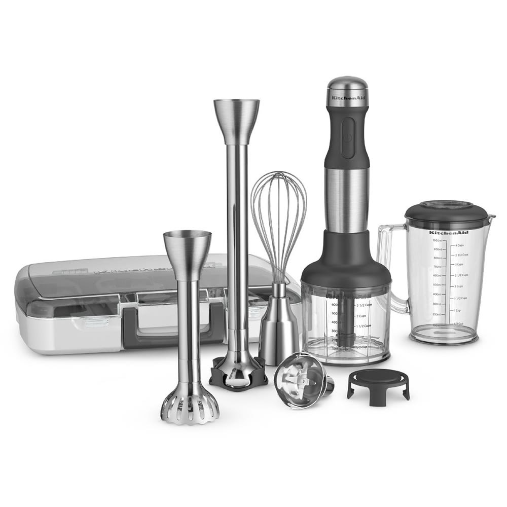 "KitchenAid KHB2571SX 5-Speed Hand Blender - 8"" & 13"" Blending Arm, 4-cup Pitcher, Stainless"