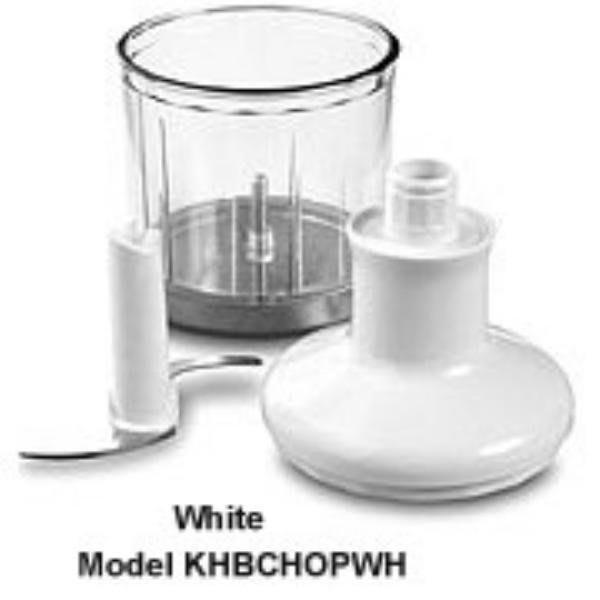 KitchenAid KHBCHOPWH Chopper Attachment for Immersion Blender, White