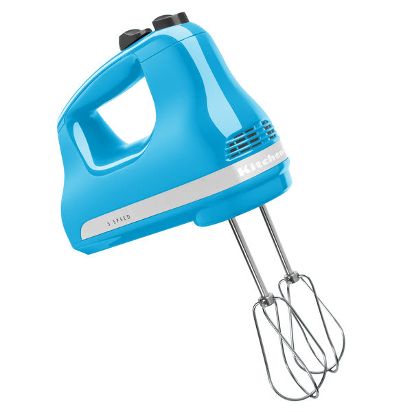 KitchenAid KHM512CL 5 Speed Hand Mixer w/ (2) Stainless Steel Turbo Beaters, Crystal Blue