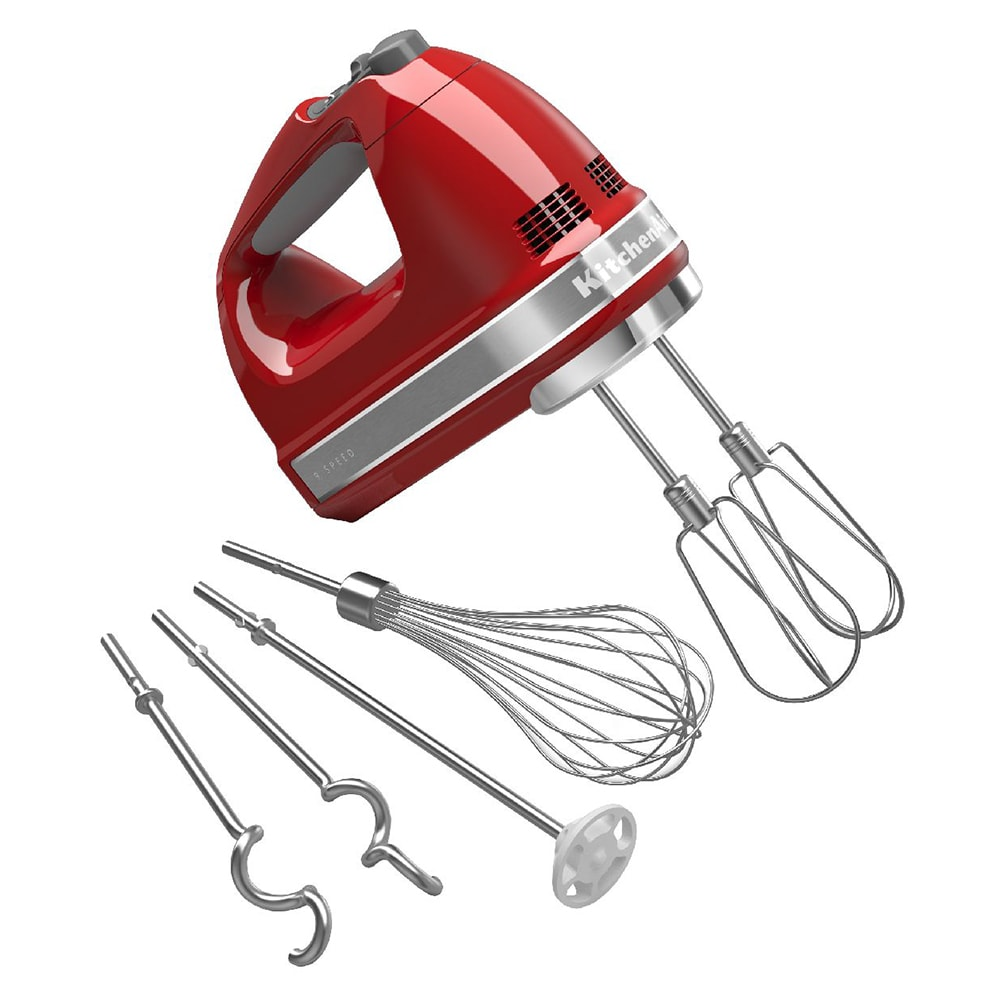 KitchenAid KHM926ER 9-Speed Hand Mixer w/ Exclusive Accessory Pack, Empire Red