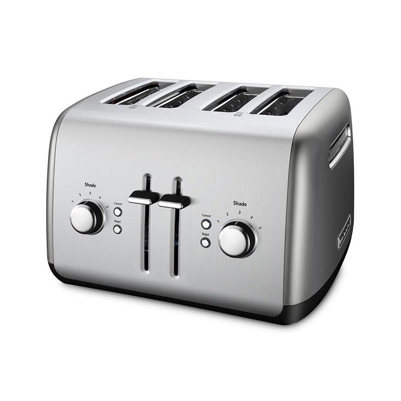 KitchenAid KMT4115CU 4-Slice Toaster w/ Manual High-Lift Lever, Contour Silver