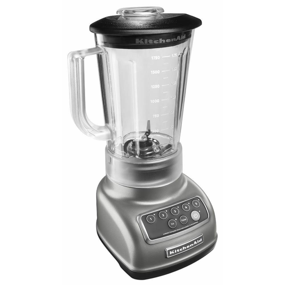 KitchenAid KSB1570 5 Speed Countertop Blender w/ 56 oz Pitcher, Silver