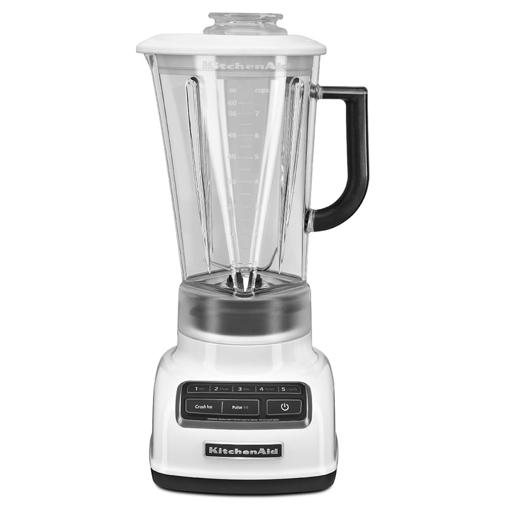 KitchenAid KSB1575WH 5-Speed Countertop Blender w/ 60-oz Pitcher, White