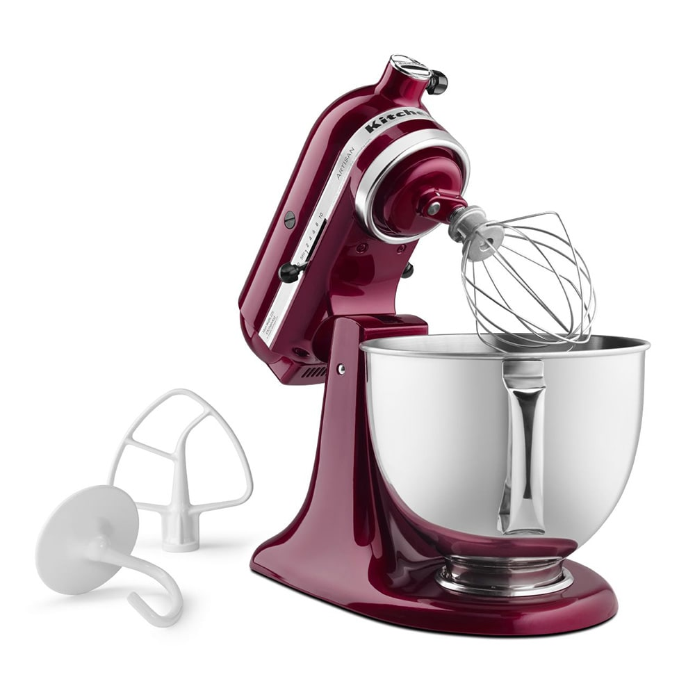KitchenAid KSM150PSBX 10 Speed Stand Mixer w/ 5 qt Stainless Bowl & Accessories, Bordeaux