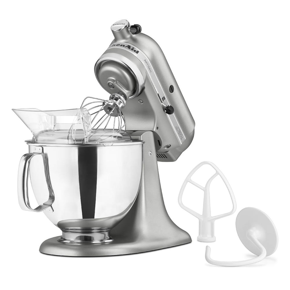 KitchenAid KSM150PSCU 10 Speed Stand Mixer w/ 5 qt Stainless Bowl & Accessories, Contour Silver
