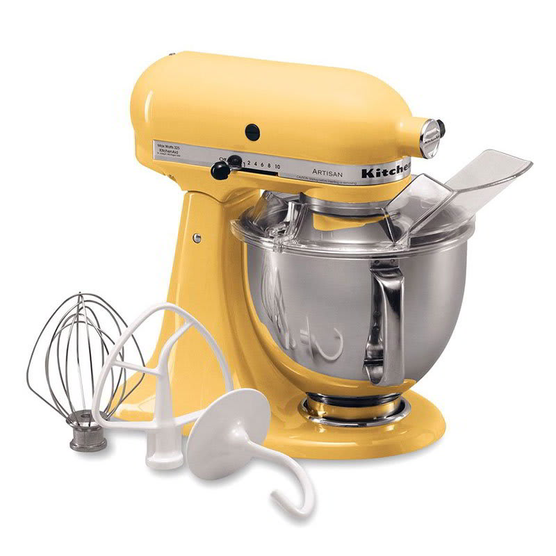 KitchenAid KSM150PSMY 10 Speed Stand Mixer w/ 5 qt Stainless Bowl & Accessories, Majestic Yellow