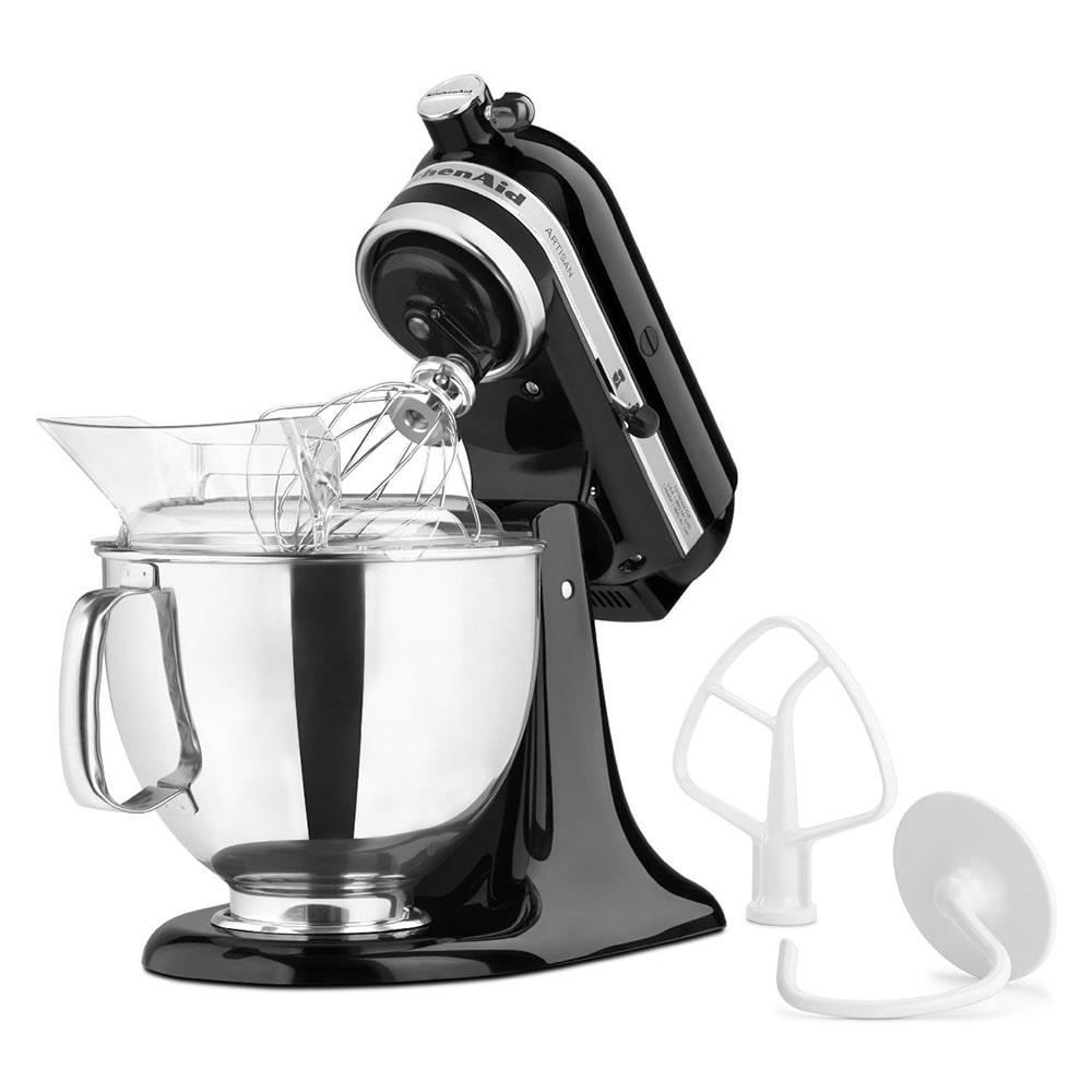 KitchenAid KSM150PSOB 10 Speed Stand Mixer w/ 5 qt Stainless Bowl & Accessories, Onyx Black