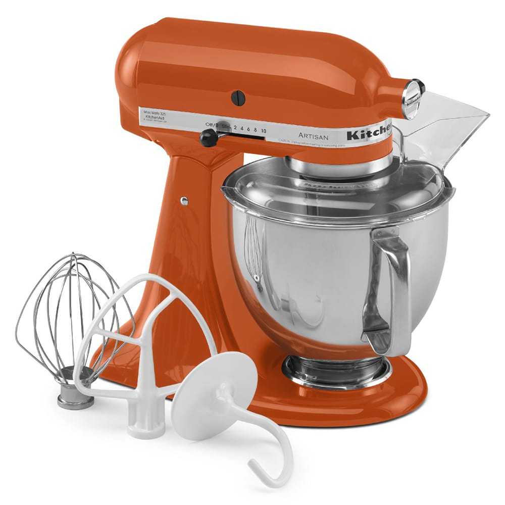 KitchenAid KSM150PSPN 10 Speed Stand Mixer w/ 5 qt Stainless Bowl & Accessories, Persimmon