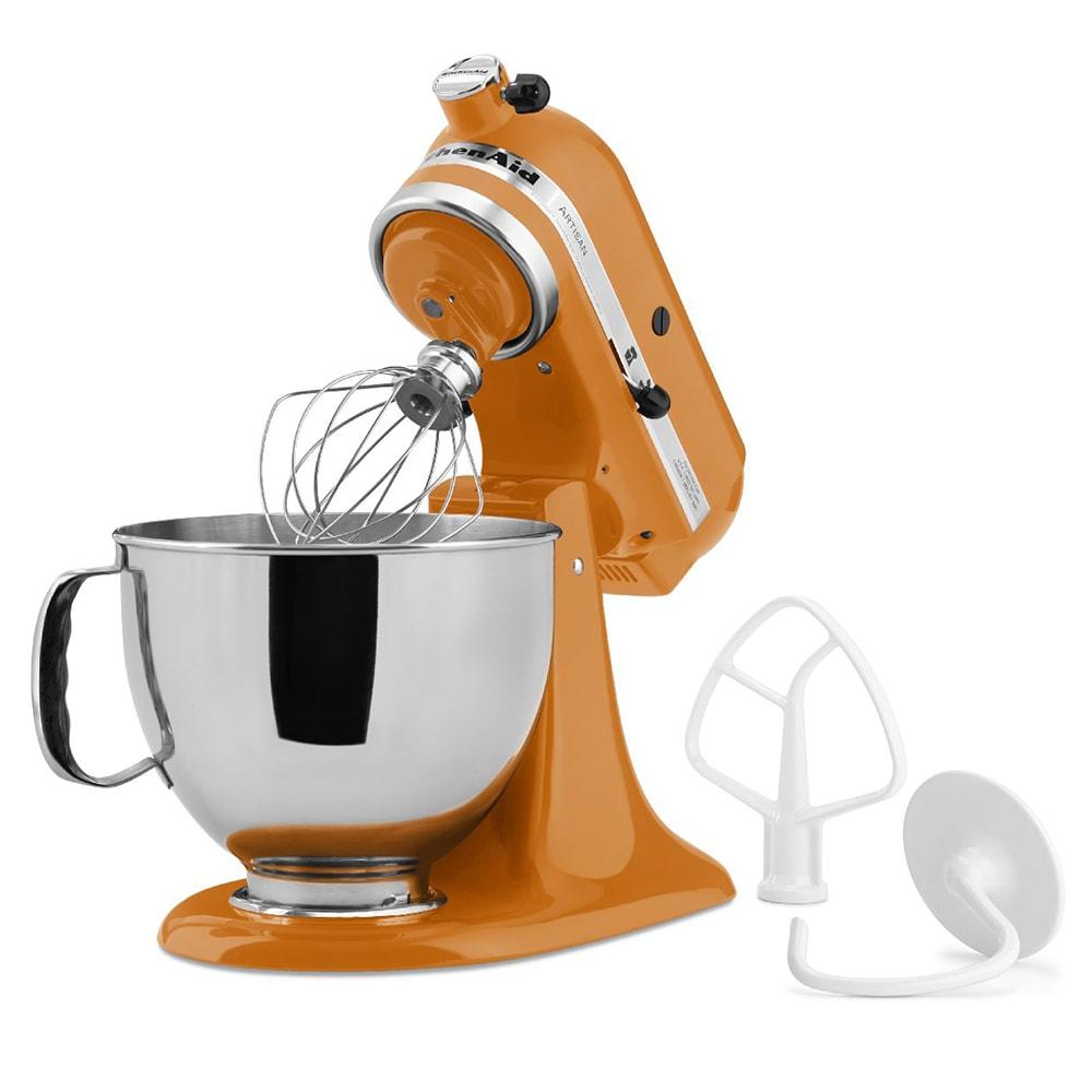 KitchenAid KSM150PSTG 10 Speed Stand Mixer w/ 5 qt Stainless Bowl & Accessories, Tangerine