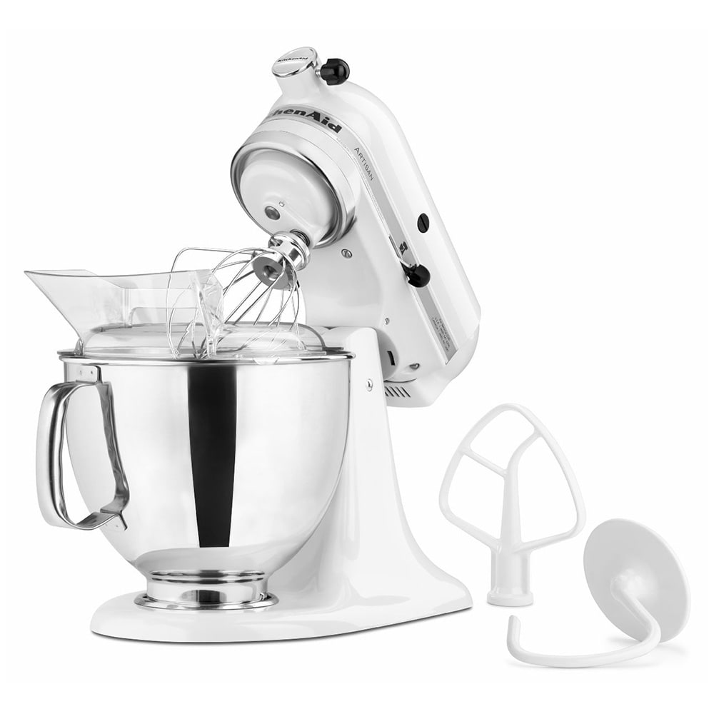 KitchenAid KSM150PSWH 10 Speed Stand Mixer w/ 5 qt Stainless Bowl & Accessories, White
