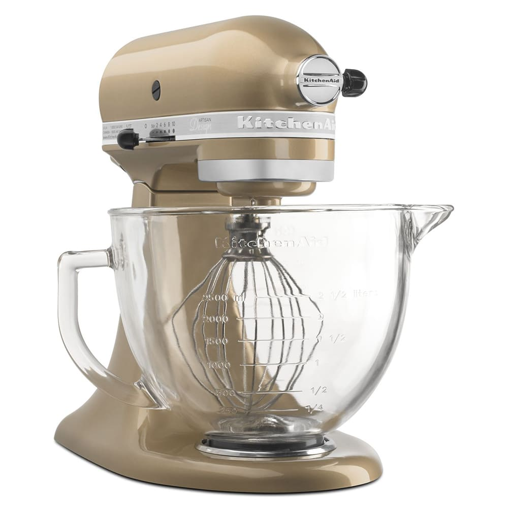 KitchenAid KSM155GBCZ 10 Speed Stand Mixer w/ 5 qt Glass Bowl &  Accessories, Champagne Gold