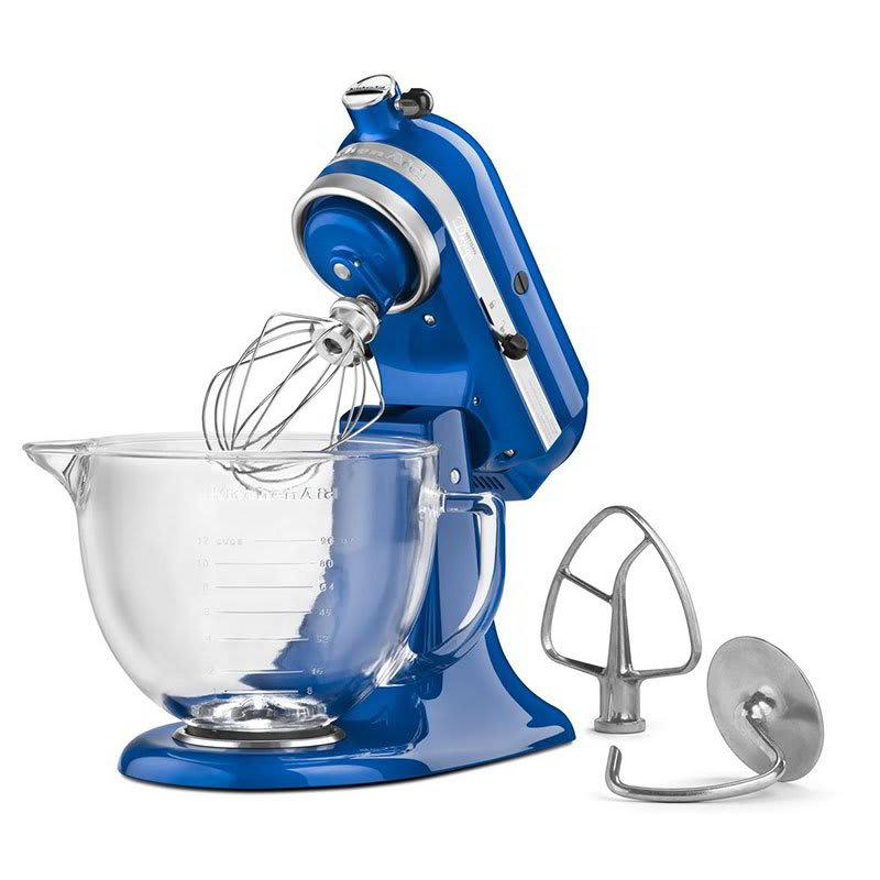 KitchenAid KSM155GBEB 10 Speed Stand Mixer W/ 5 Qt Glass Bowl U0026 Accessories,  Electric Blue