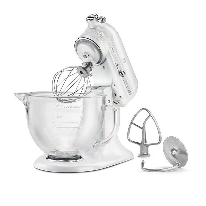 KitchenAid KSM155GBFP 10 Speed Stand Mixer w/ 5 qt Glass Bowl &  Accessories, Frosted Pearl White
