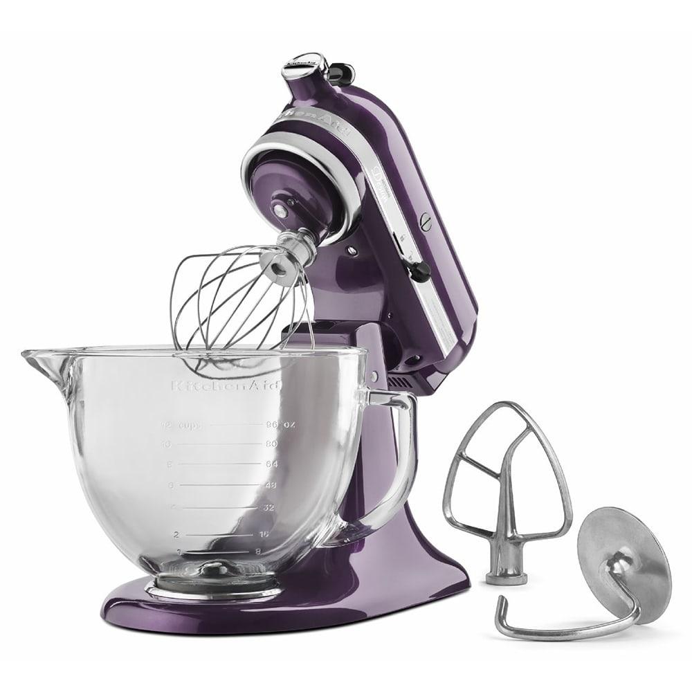 KitchenAid KSM155GBPB 10 Speed Stand Mixer w/ 5 qt Glass Bowl & Accessories, Plumberry