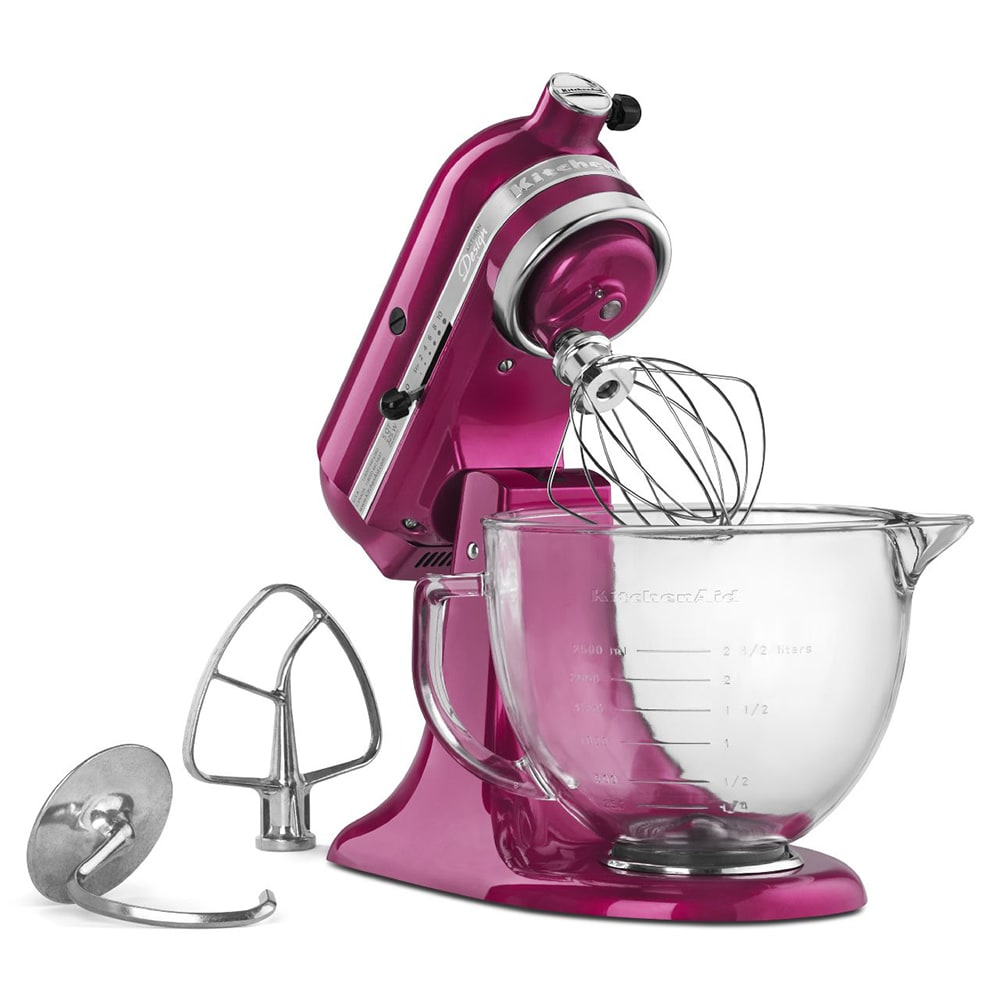 KitchenAid KSM155GBRI 10-Speed Stand Mixer w/ 5-qt Glass Bowl & Accessories, Raspberry Ice