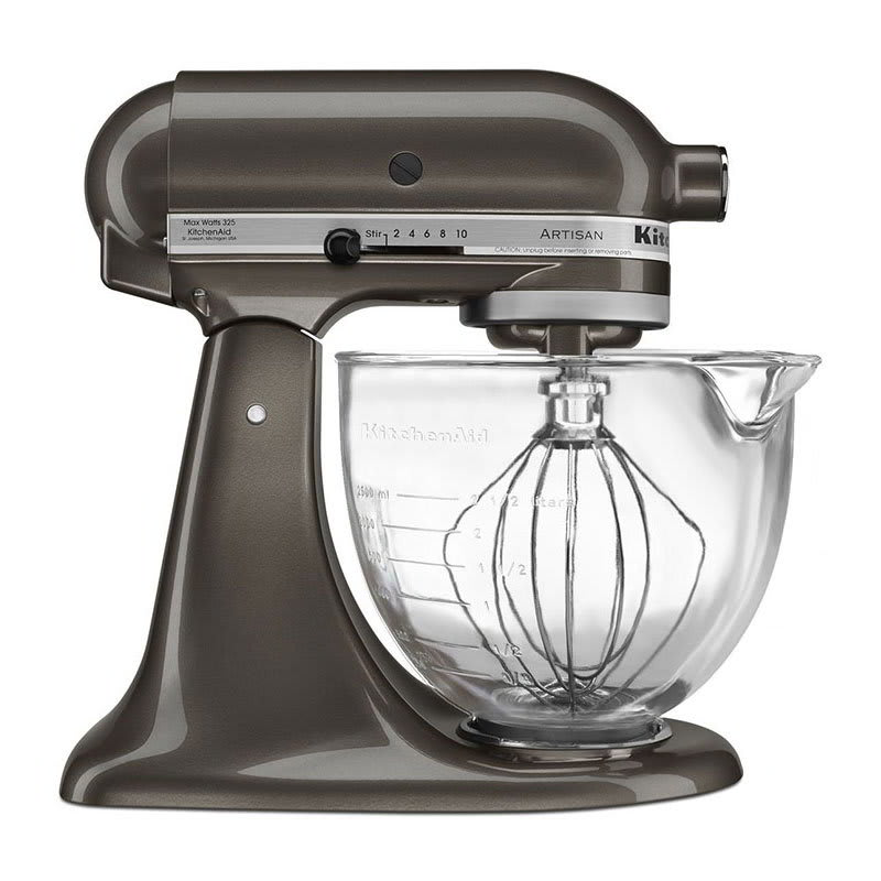 KitchenAid KSM155GBTD 10 Speed Stand Mixer w/ 5 qt Glass Bowl & Accessories, Truffle Dust