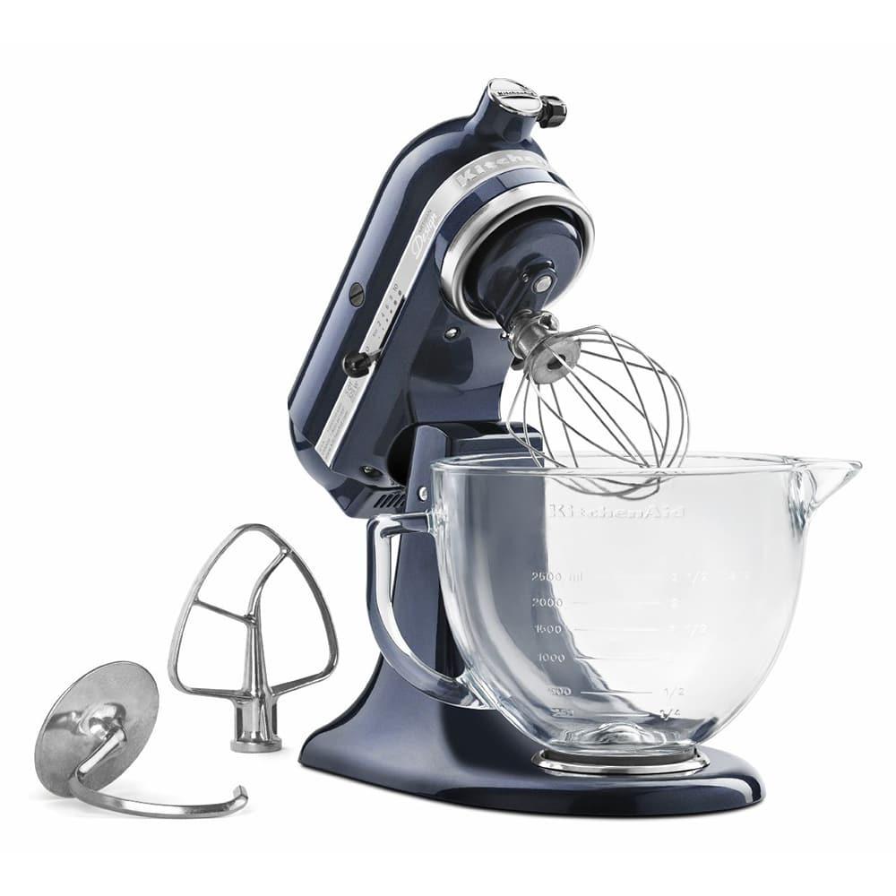 KitchenAid KSM155GBUB 10-Speed Stand Mixer w/ 5-qt Glass Bowl & Accessories, Blueberry