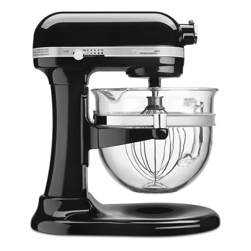 KitchenAid KSM6521XOB 10 Speed Stand Mixer w/ 6 qt Glass Bowl & Accessories, Onyx Black