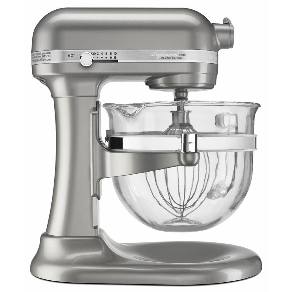 KitchenAid KSM6521XSR 10-Speed Stand Mixer w/ 6-qt Glass Bowl & Accessories, Sugar Pearl Silver