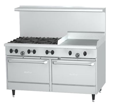 "Garland X60-6G24RR 60"" SunFire 6-Burner Gas Range with Griddle, NG"