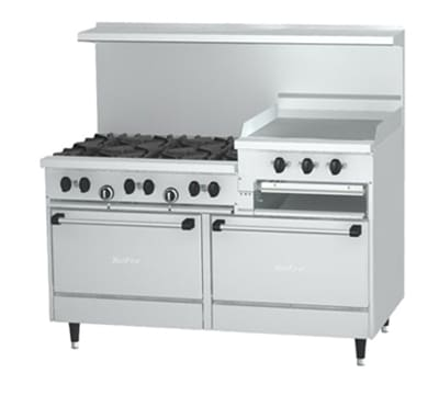 "Garland X60-6R24RR 60"" SunFire 6-Burner Gas Range with Griddle & Broiler, NG"