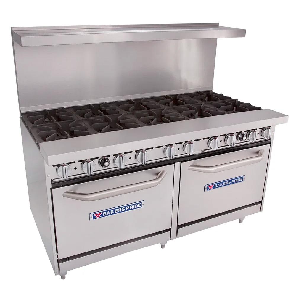 """Bakers Pride 60-BP-10B-S26 60"""" 10-Burner Gas Range w/ (2) Standard Ovens, LP"""