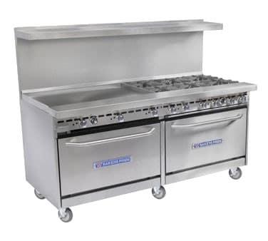 """Bakers Pride 60-BP-6B-G24-S26 60"""" 6 Burner Gas Range w/ 24"""" Griddle, (2) Standard Ovens, LP"""