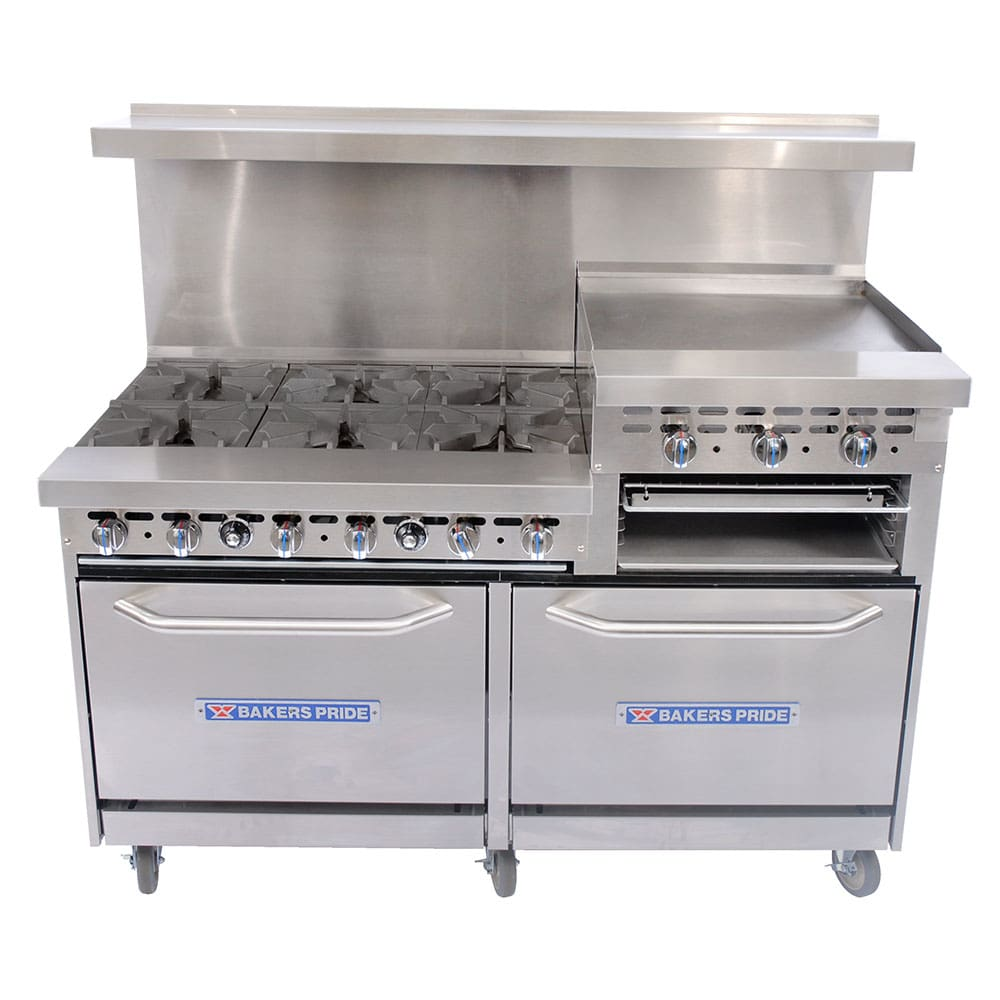 "Bakers Pride 60-BP-6B-RG24-S26 60"" 6-Burner Gas Range w/ Griddle, NG"