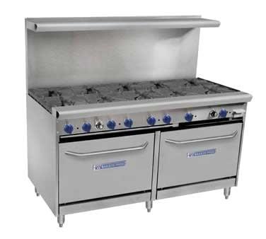 "Bakers Pride 60-BPV-10B-S26 60"" 10 Burner Gas Range w/ (2) Standard Ovens, NG"