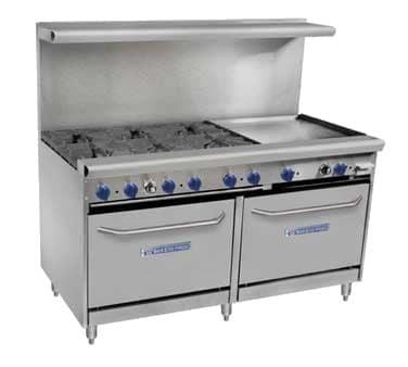 "Bakers Pride 60-BPV-6B-RG24-S26 60"" 6-Burner Gas Range w/ 24"" Raised Griddle, (2) Standard Ovens, NG"