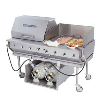"Bakers Pride CBBQ-30S-CP 29"" Mobile Gas Commercial Outdoor Grill w/ Water Pans, NG"