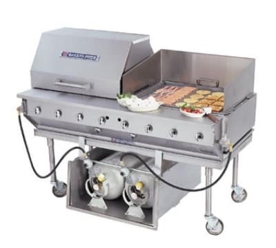 "Bakers Pride CBBQ-60S-CP 58"" Mobile Gas Commercial Outdoor Grill w/ Water Pans, LP"