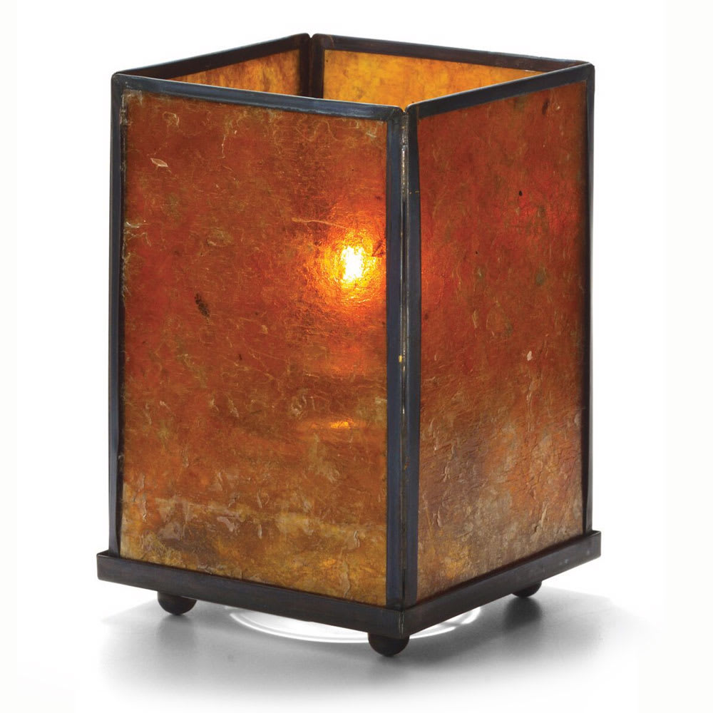 "Hollowick 1400A Large Square Mica Panel Lamp, 5-1/8"" H x 3-1/8"" W, Amber"