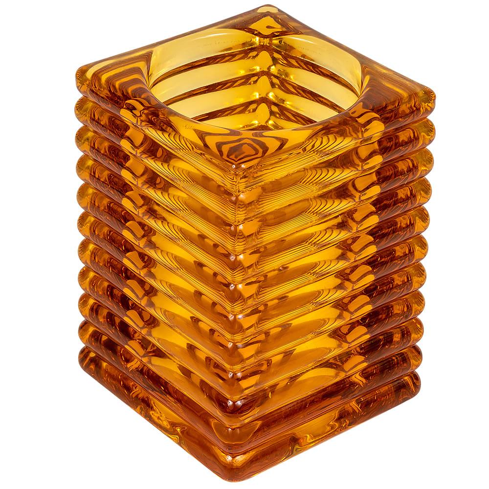 "Hollowick 1511A Horizontal Rib Glass Block Lamp, 4-1/8"" H x 2-7/8"" W, Amber"