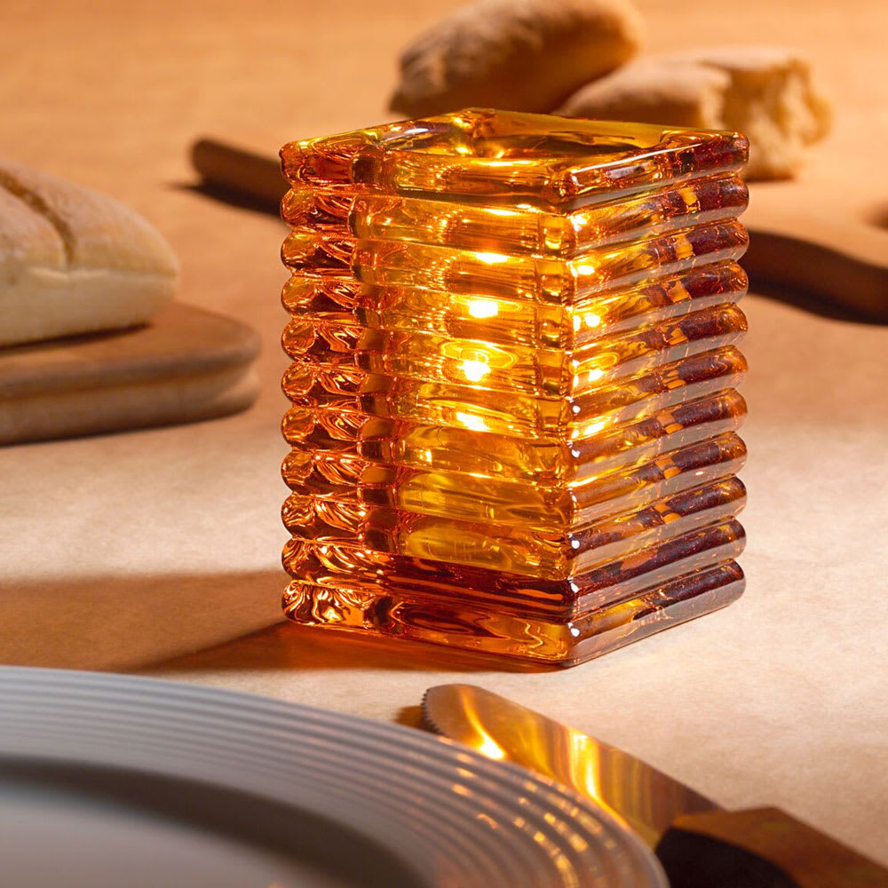 "Hollowick 1511A Horizontal Rib Glass Block Lamp, 4 1/8"" H x 2 7/8"" W, Amber"
