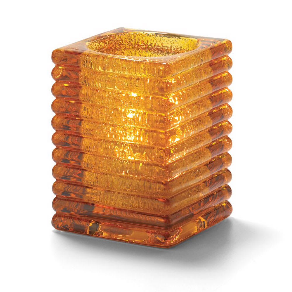 "Hollowick 1511AJ Horizontal Rib Glass Block Lamp, 4 1/8"" H x 2 7/8"" W, Amber Jewel"