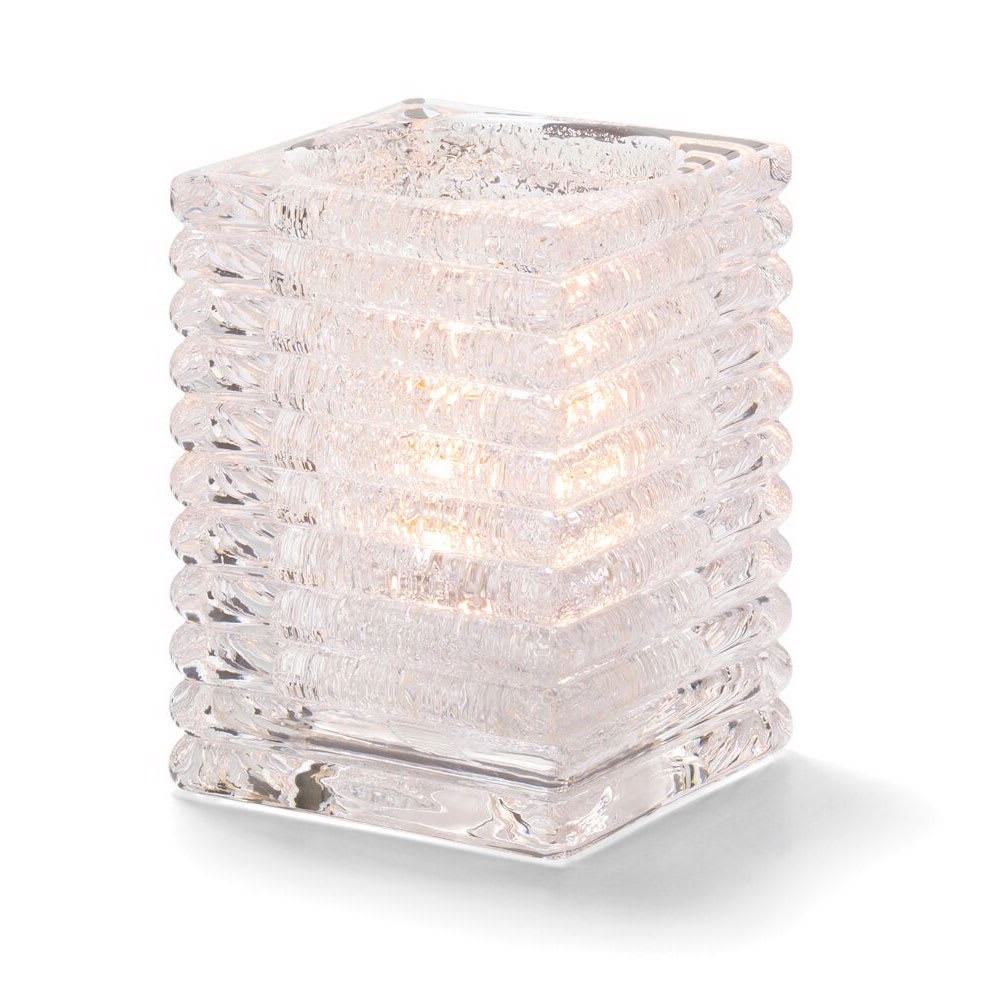 "Hollowick 1511CJ Horizontal Rib Glass Block Lamp, 4 1/8"" H x 2 7/8"" W, Clear Jewel"